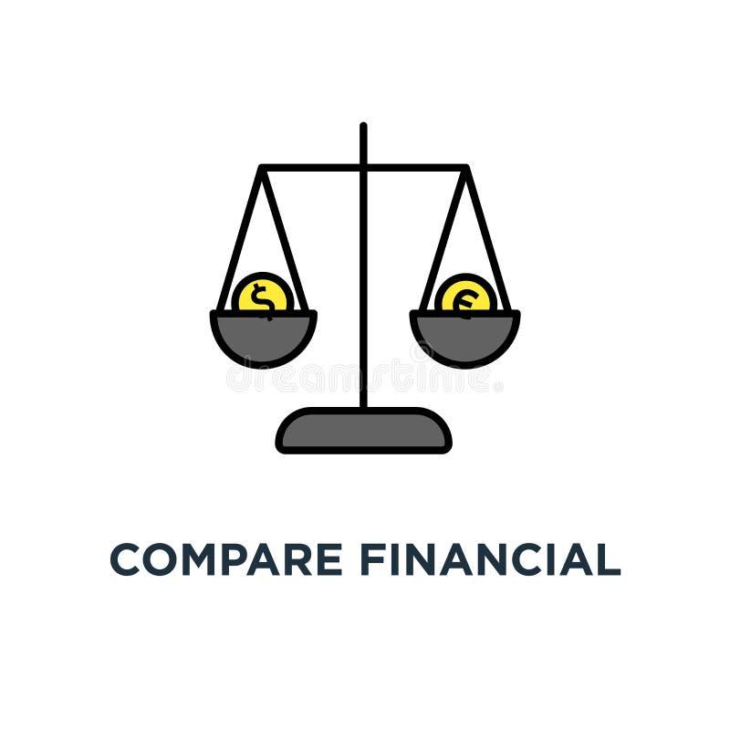 comparez l'icône d'équilibre financier, les balances au dollar et les pièces de monnaie d'euro, échange des échelles d'argent, af illustration stock