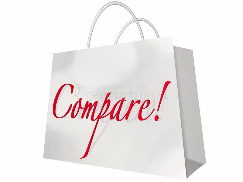 Comparez le sac de comparaison de magasins des plus bas prix de boutique illustration de vecteur