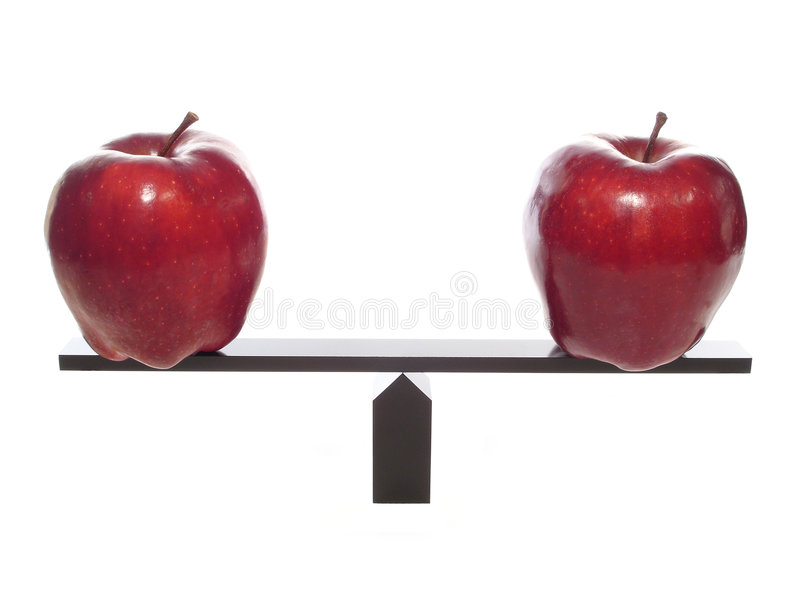 Comparing Apples to Apples metaphor stock photos