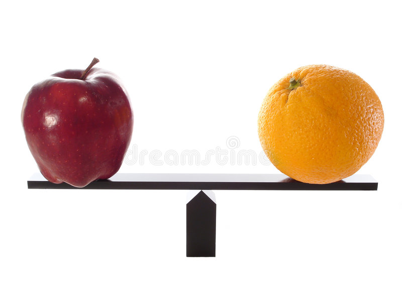 Comparing Apples to Oranges. On a balance beam royalty free stock photography