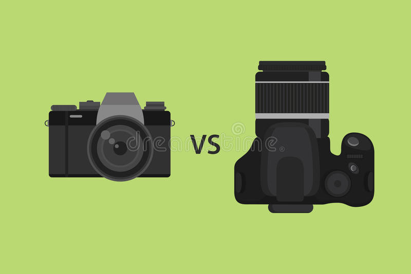 Comparing Mirrorless camera vs DSLR camera picture illustration with black color and green background. Vector vector illustration