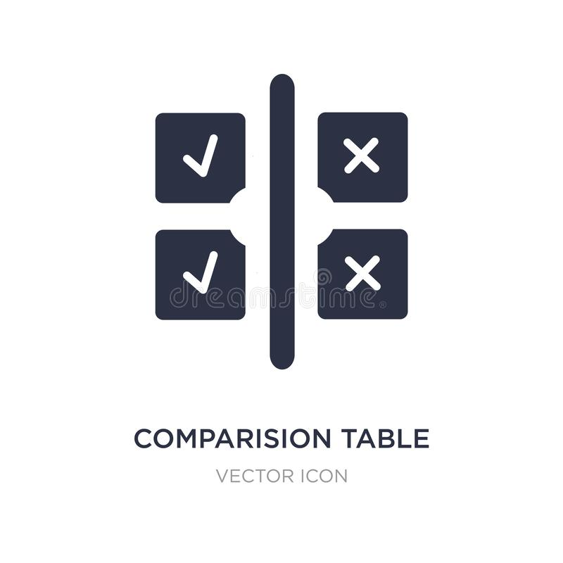 comparision table icon on white background. Simple element illustration from UI concept vector illustration