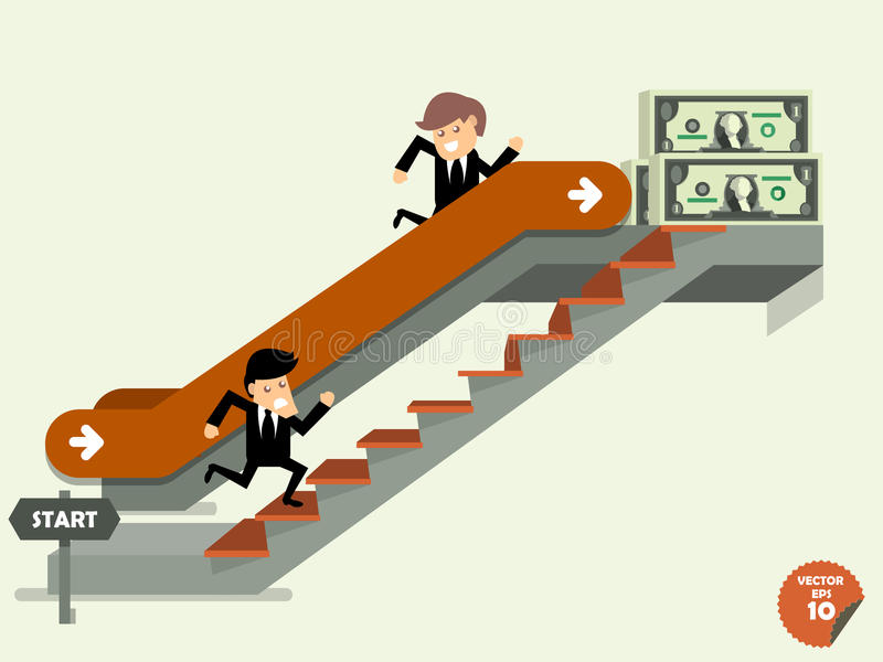 Comparison between business man who going up to escalator and another man who is climbing the stairs royalty free illustration