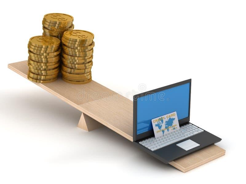 Download Comparison Of E-commerce And Cash. Stock Illustration - Illustration of balance, card: 8626273