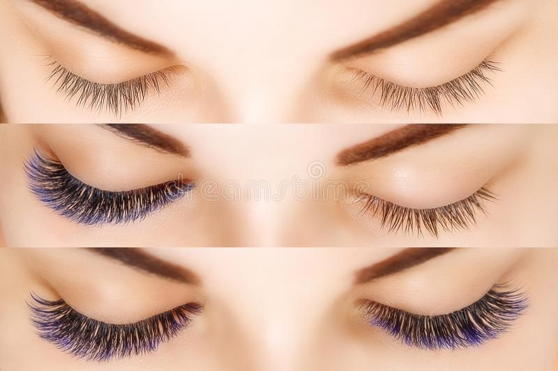 Eyelash Extension. Comparison of female eyes before and after. Blue ombre lashes. Comparison of female eyes before and after eyelash extension. Blue ombre stock photos