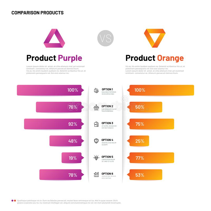 Comparison infographic. Bar graphs with compare description. Comparing infographics table. Choosing product vector vector illustration