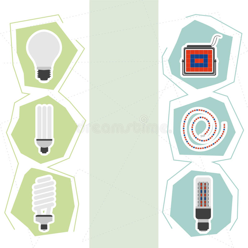 Comparison LED phyto and usual lamps light stock illustration