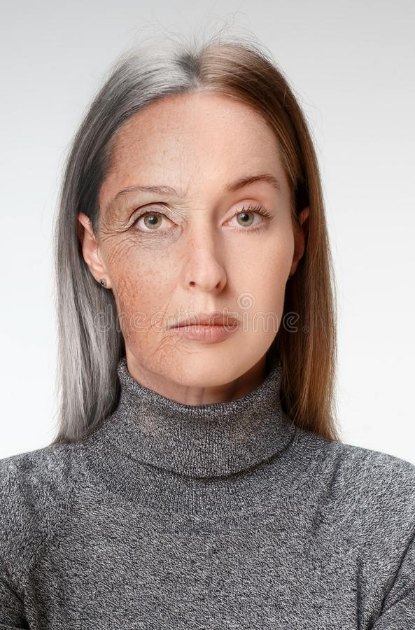 Comparison. Portrait of beautiful woman with problem and clean skin, aging and youth concept, beauty treatment stock photos
