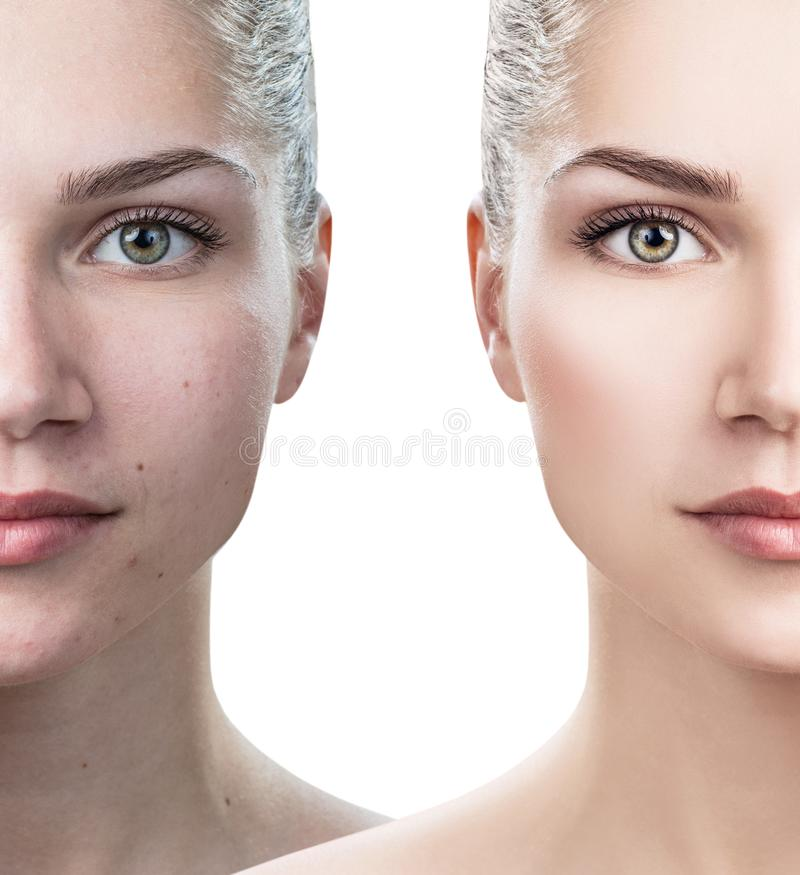 Comparison portrait of young woman royalty free stock image