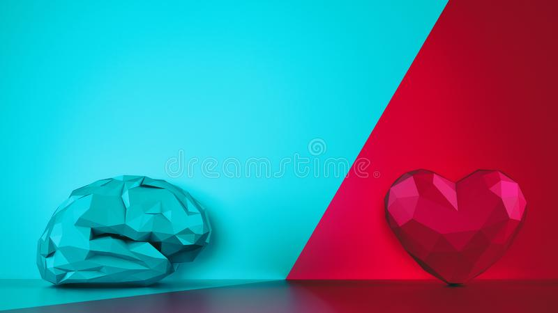 Comparison between reason and feeling. Faceted brain and heart on a two tone background. 3D Rendering stock photography