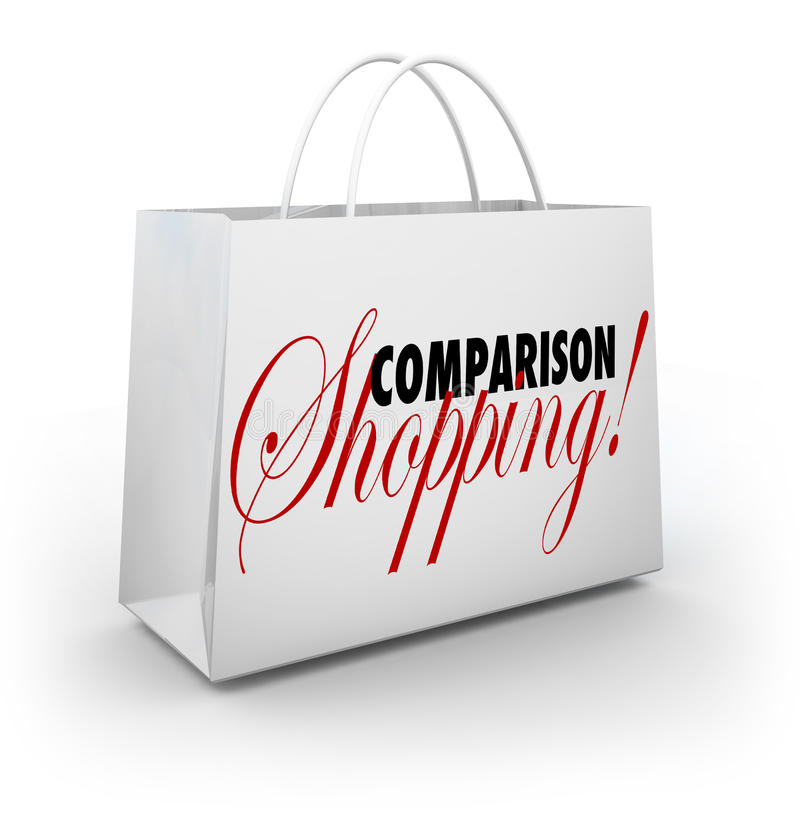 Comparison Shopping Bag Buy Merchandise Best Lowest Price. Comparison Shopping words on a bag for purchasing or buying products or merchandise at lowest price or royalty free illustration
