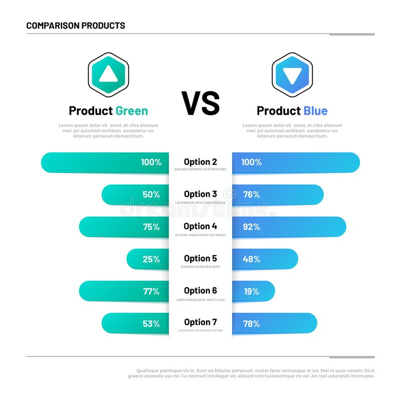 Comparison table. Graphs for product compare. Choosing and comparison content. Vector infographic concept. Comparison graph, compare chart illustration vector illustration