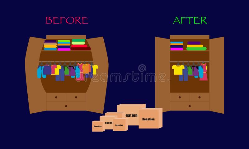 Comparison two wardrobes with different colorful clothes before and after cleaning out and donation. Full boxes near wardrobe. vector illustration