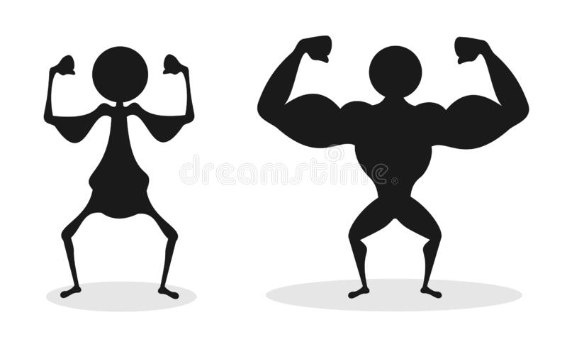 Comparison of unhealthy bad and poor physique vs strong and big musculature of muscular bodybuilder. Strength or weakness ob human body. Vector illustration vector illustration