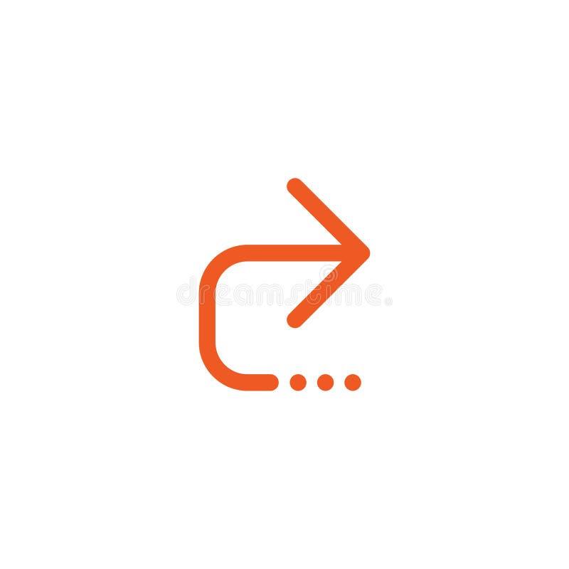 Comparta, envíe el botón del vínculo flecha derecha fina roja y tres puntos Icono simple aislado en blanco ilustración del vector