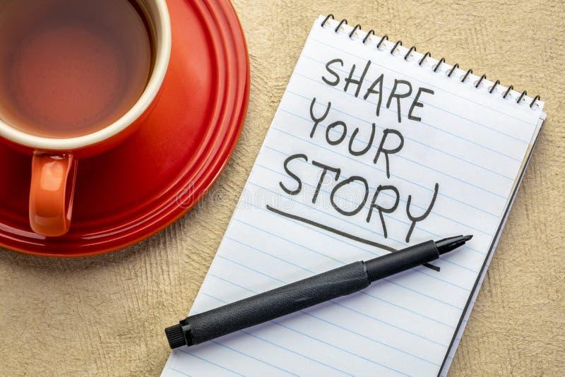 Comparta su escritura de la historia imagen de archivo libre de regalías