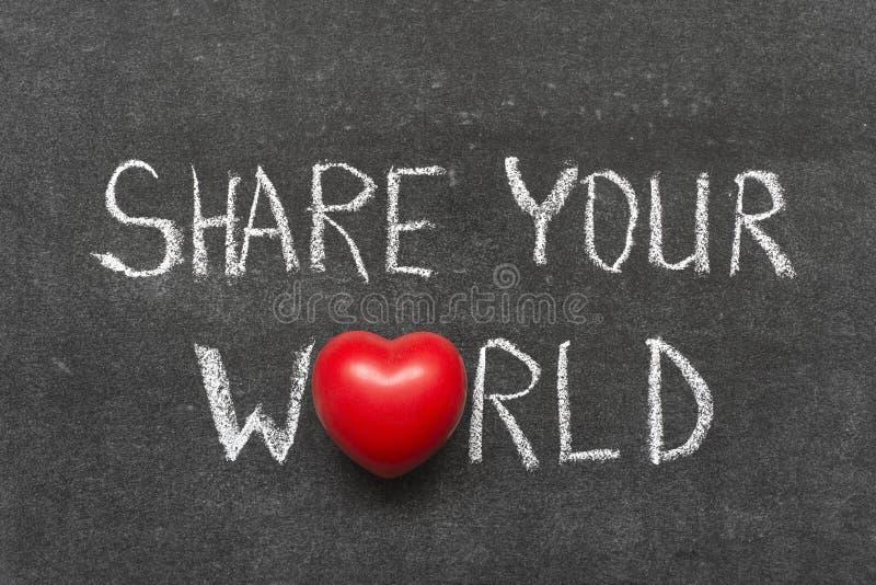 Comparta su mundo fotos de archivo libres de regalías