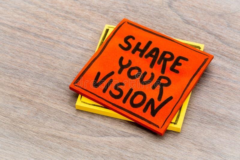 Comparta su nota del recordatorio de la visión foto de archivo