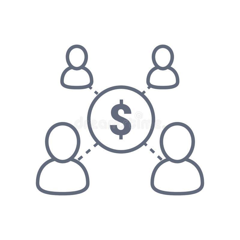 Compartilhando do conceito da economia, gestão financeira, fundo de investimento aberto, serviço incorporado, investimento empres ilustração royalty free