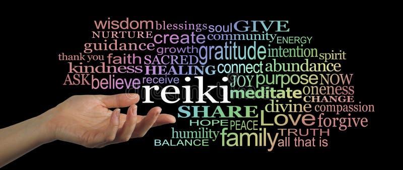 Compartilhando do encabeçamento do Web site da nuvem da palavra de Reiki imagens de stock