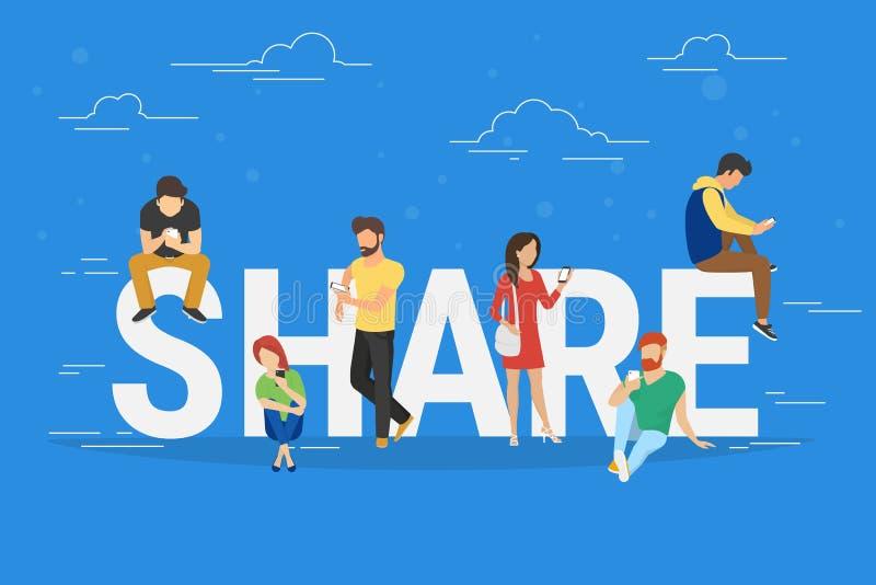 Compartilhe da ilustração do conceito dos jovens que usam dispositivos móveis ilustração do vetor