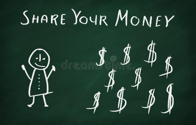 Compartilhe de seu dinheiro ilustração royalty free