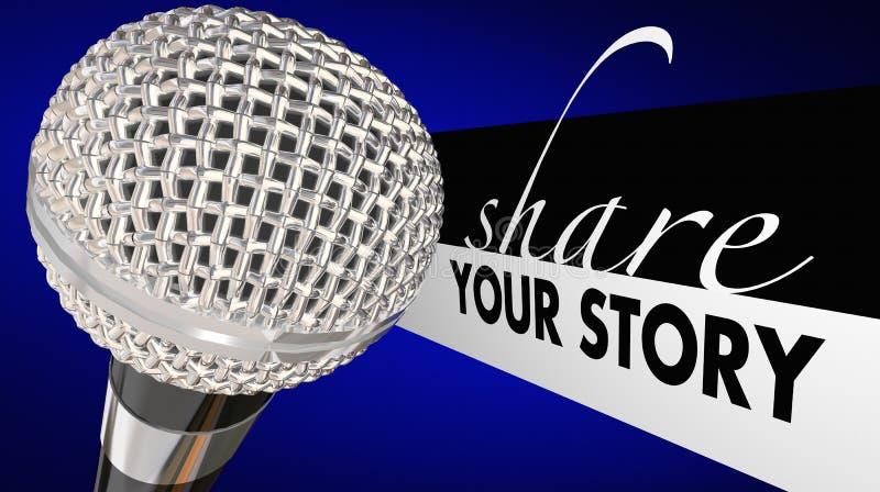 Compartilhe de seu orador do microfone da história dizem a perspectiva ilustração stock