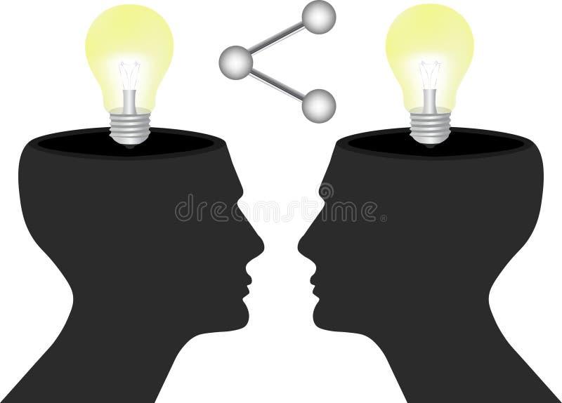Compartilhe de seus ideias e conhecimento com o conceito dos seres humanos ilustração do vetor