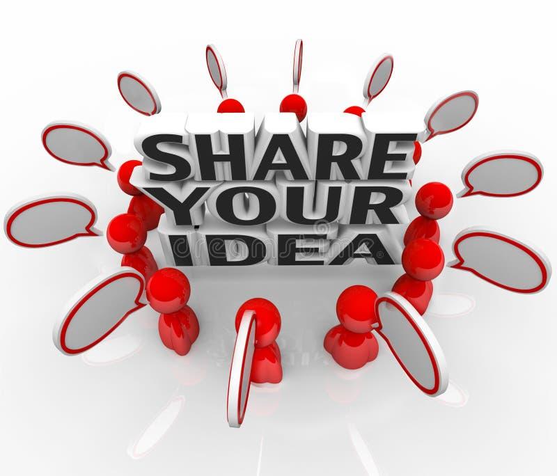 Compartilhe de seus povos criativos da ideia que discutem o problema da solução ilustração stock