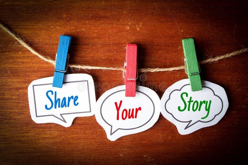 Compartilhe de sua história fotografia de stock