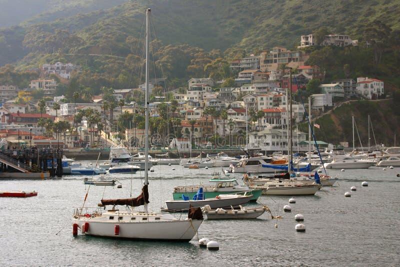 Compartiment d'Avalon avec des bateaux en Catalina photos stock