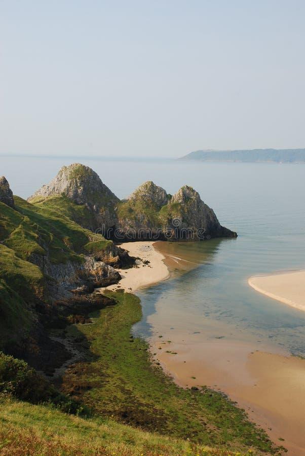 Compartiment de trois falaises, Gower photo libre de droits