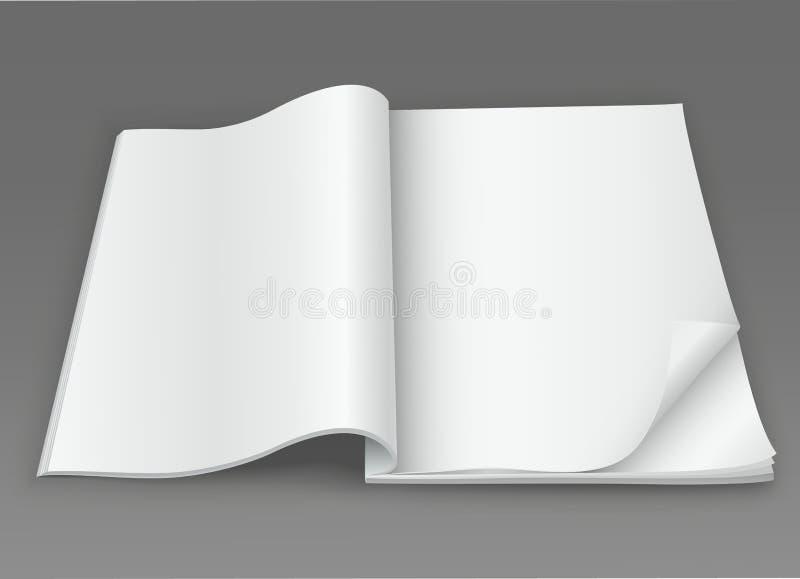Compartimento aberto da placa branca em um fundo escuro ilustração royalty free