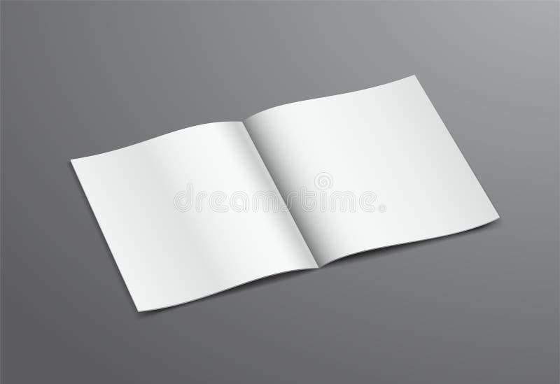 Compartimento aberto do folheto do branco vazio ilustração stock