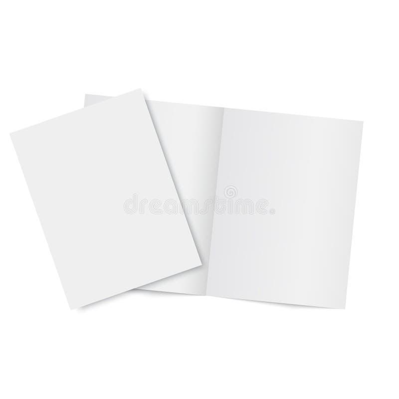 Compartimento e folheto abertos modelo Vetor ilustração stock