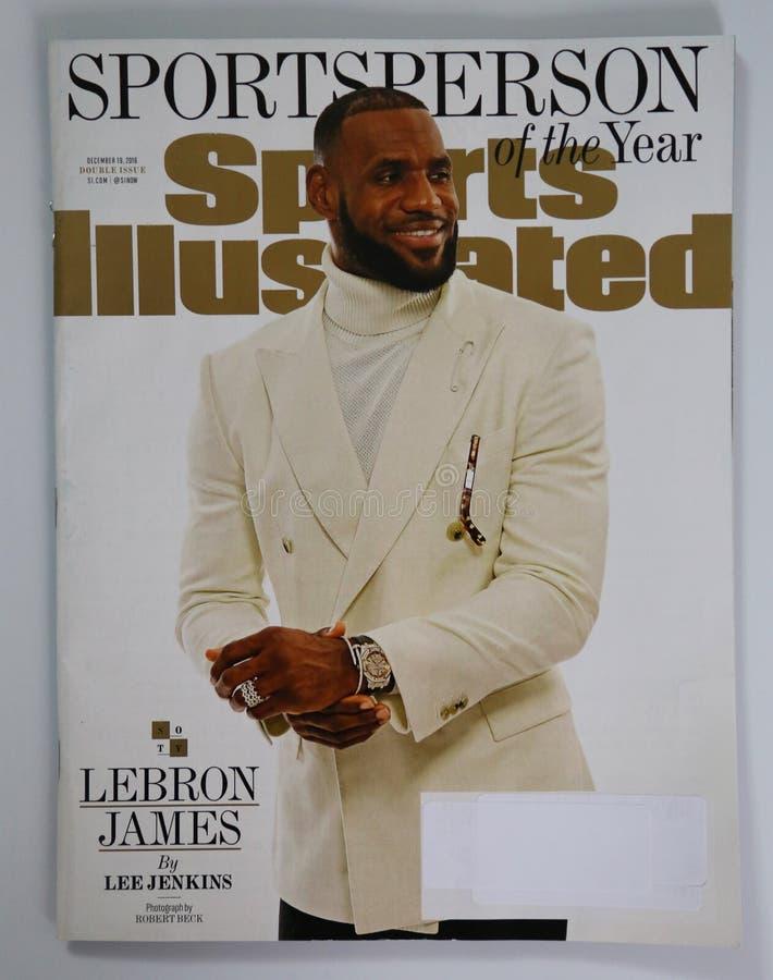 Compartimento Sportsperson de Sports Illustrated da edição do ano 2016 com Lebron James fotografia de stock