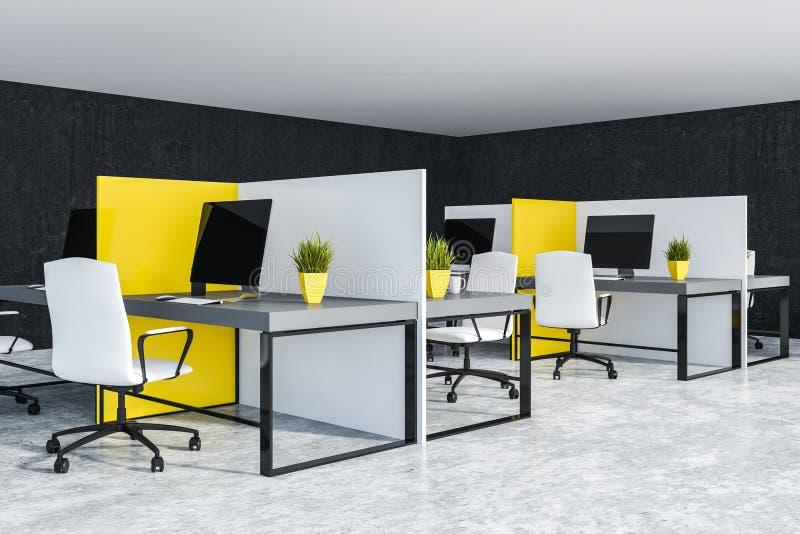 Compartimentos amarelos e brancos do escritório ilustração royalty free