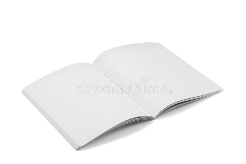 Compartimentos, livro ou catálogo do modelo no fundo branco da tabela imagens de stock