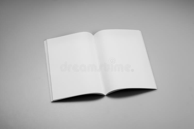 Compartimentos, livro ou catálogo do modelo no fundo cinzento da tabela foto de stock