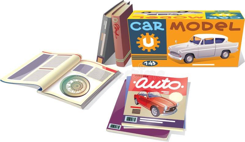 Compartimentos, livros e o modelo do carro ilustração royalty free