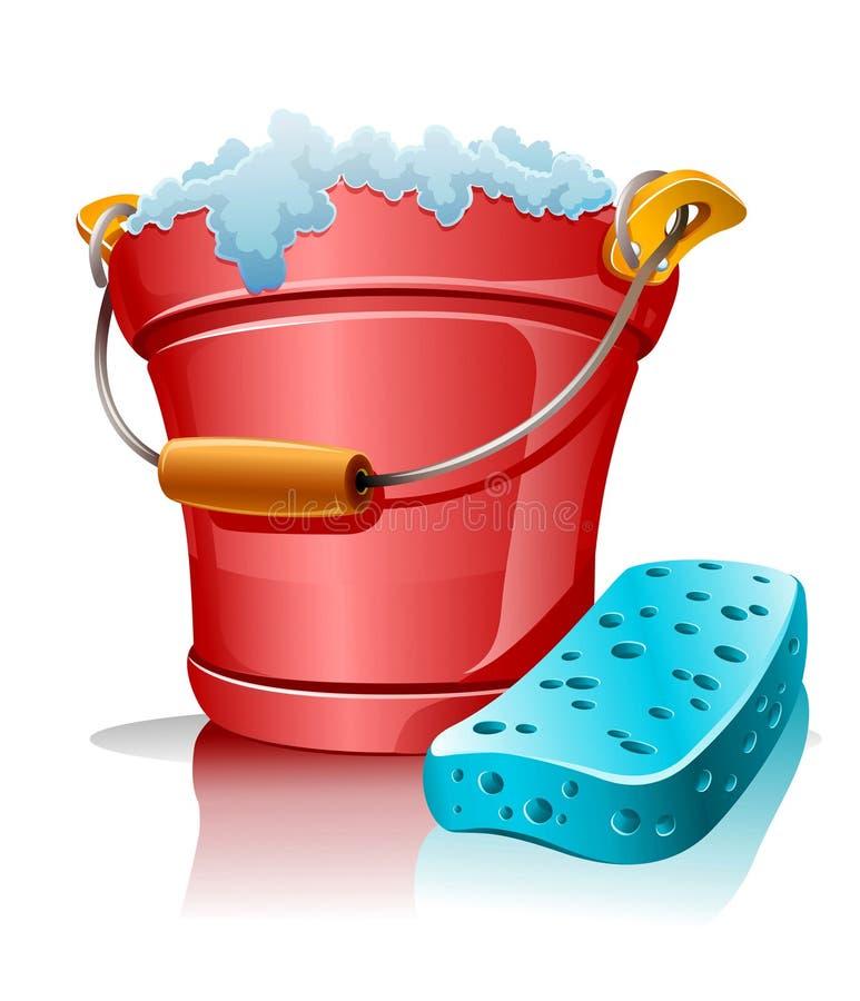 Compartimiento con la esponja de la espuma y del baño stock de ilustración