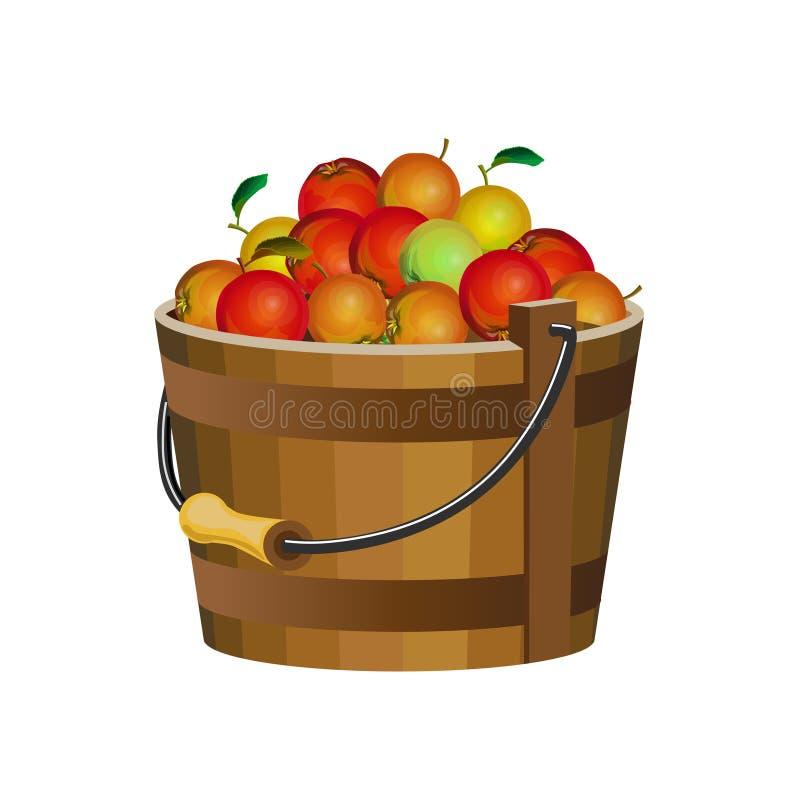 Compartimiento de madera con las manzanas stock de ilustración