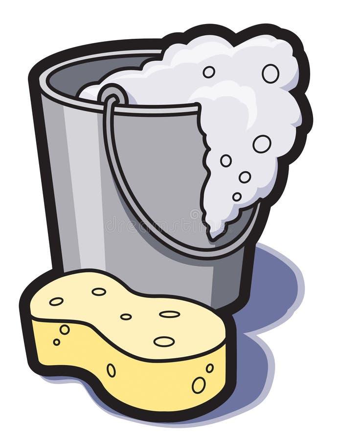 Compartimiento del agua y de la esponja stock de ilustración