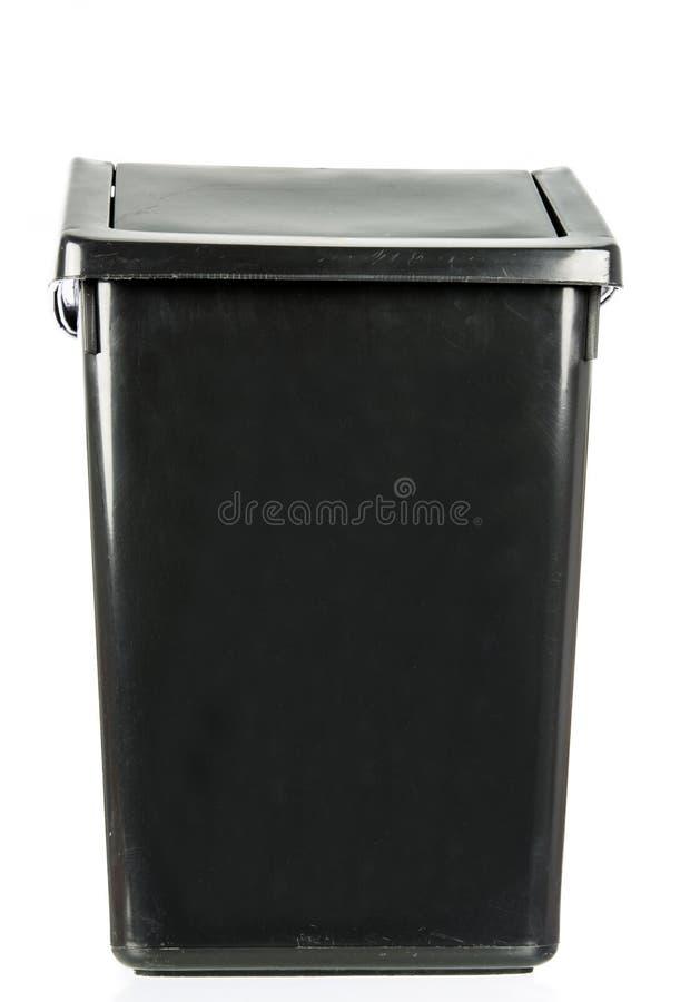 Compartimiento negro viejo sucio aislado basura aislado imagen de archivo