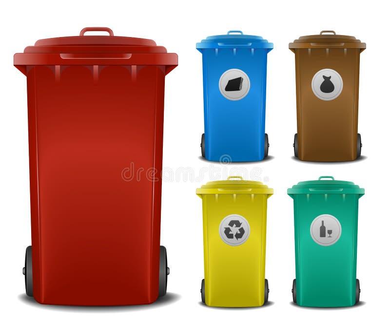 Compartimientos de reciclaje ilustración del vector
