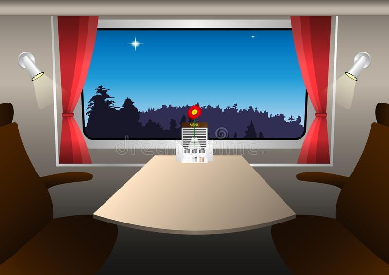 A compartment in a railway carriage. Evening landscape outside the window. Vector Illustration vector illustration