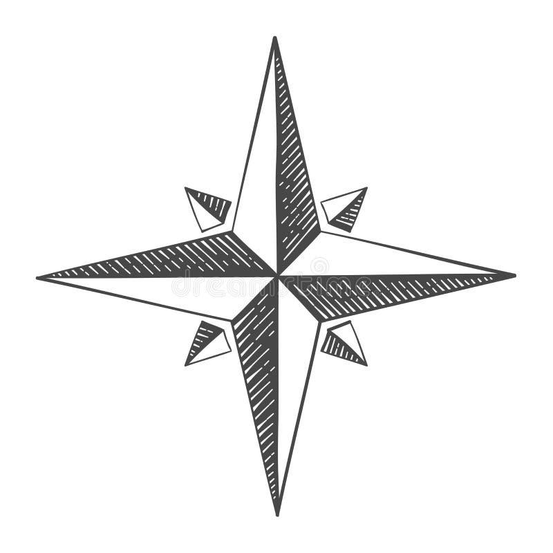 Compas上升了 手拉的草图 向量例证