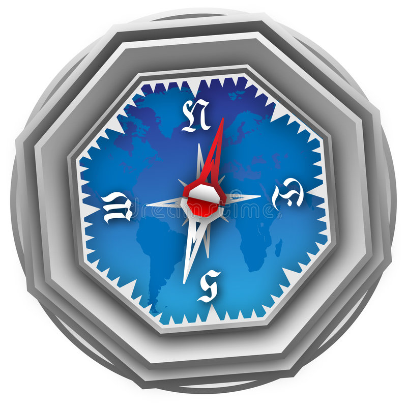 Compas. An old compass, made at adobe illustrator x4. Very detailed, can be used as decoration for web-pages, as an icon, etc royalty free illustration