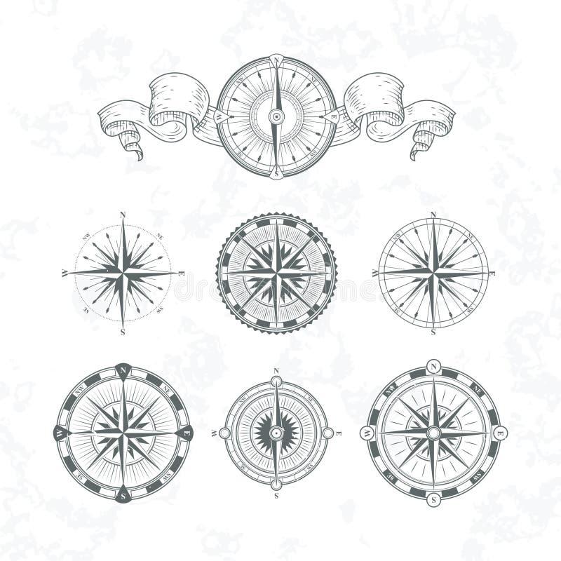 Compas antigos da orientação no estilo do vintage Ilustrações monocromáticas do vetor ajustadas ilustração royalty free