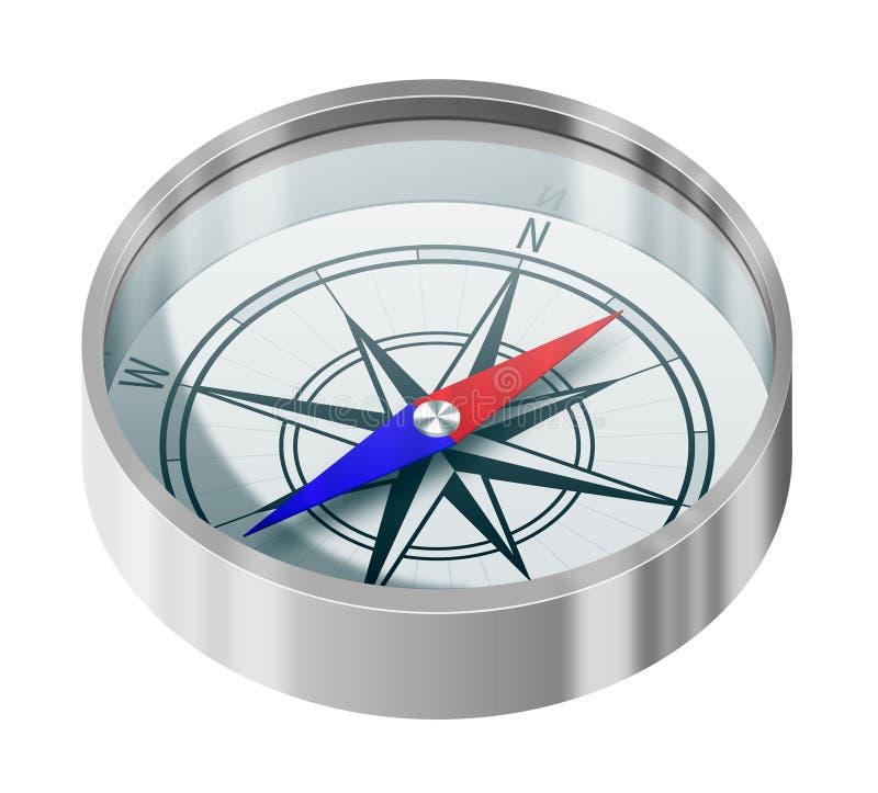 Compas argenté illustration stock